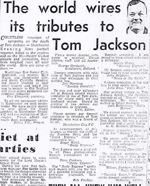 World wires its tributes to Tom Jackson - Manchester Evening News