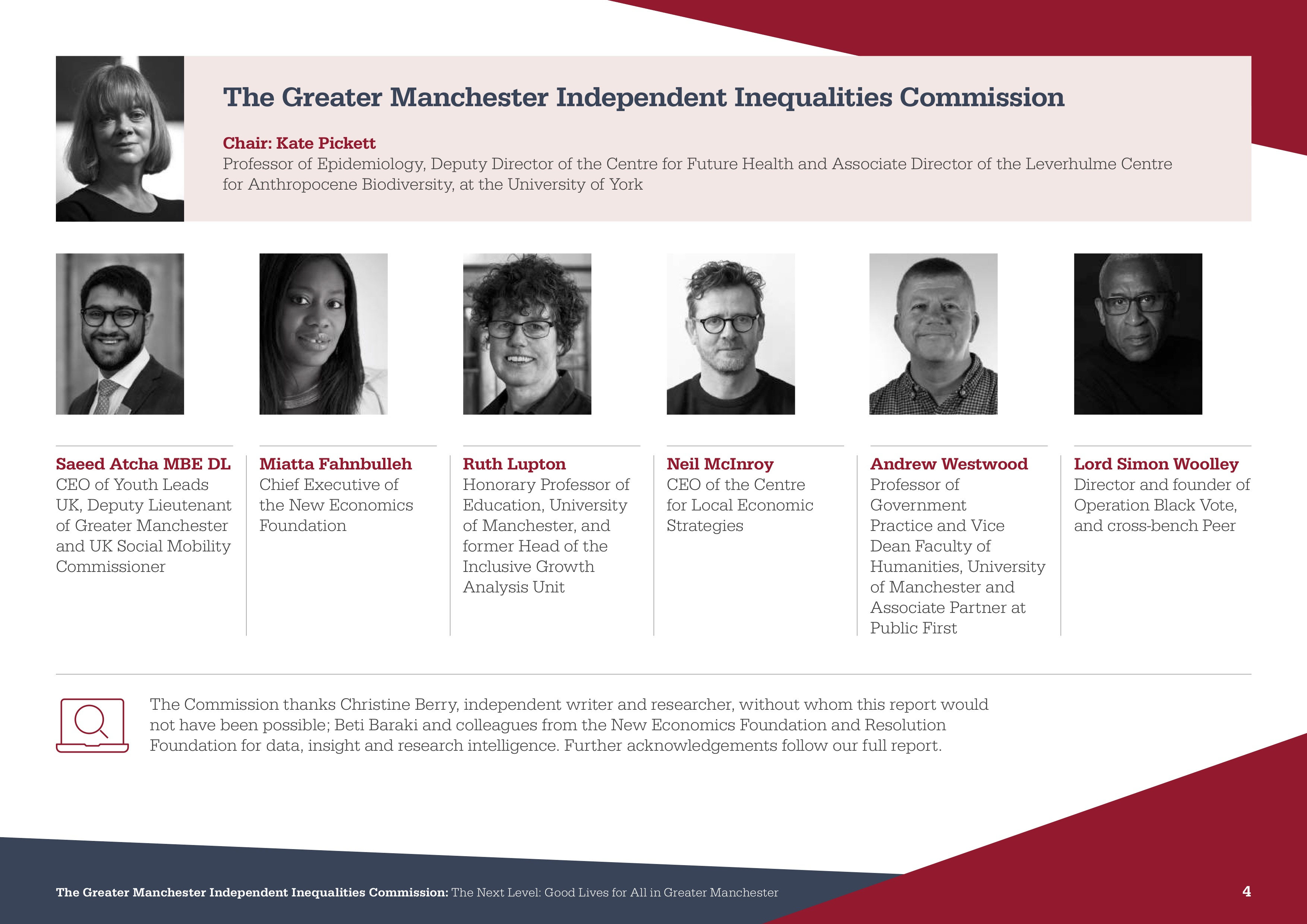 Greater Manchester Independent Inequality Commission Members