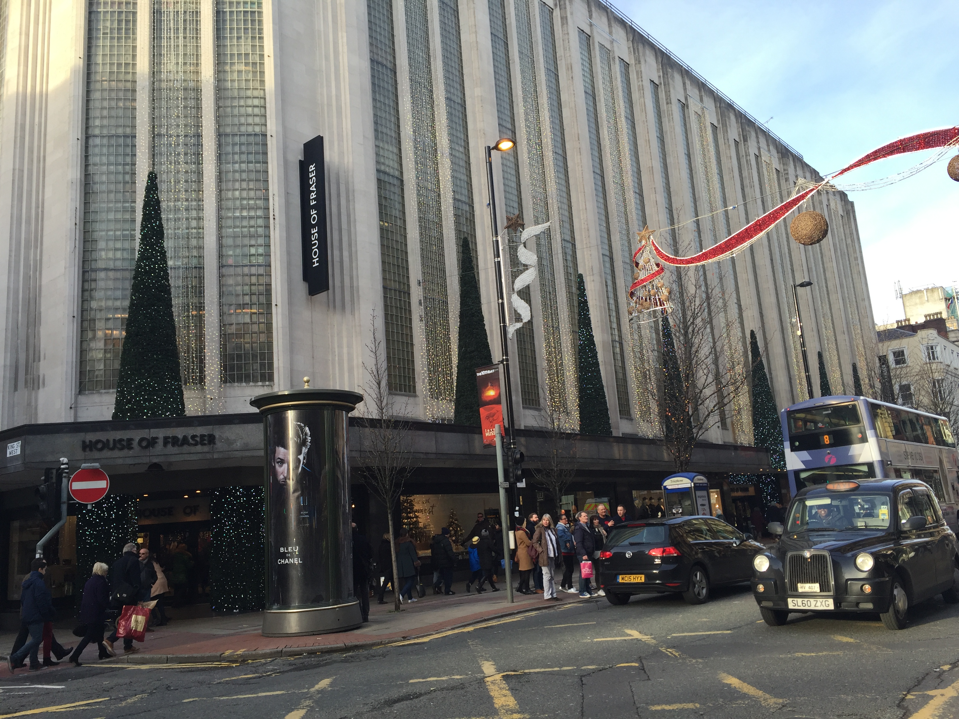 An image of the outside of House Of Fraser in Manchester city centre.