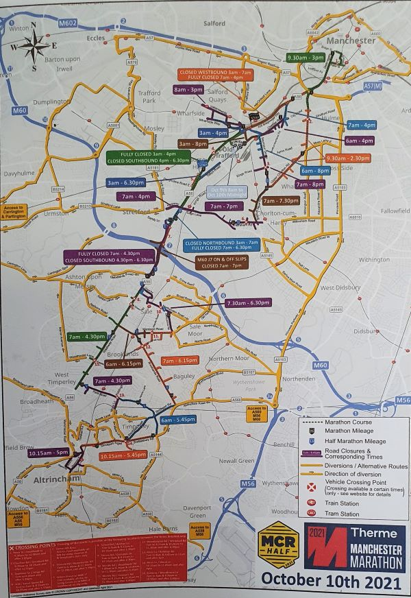 A map of road closures and times around Manchester this weekend.