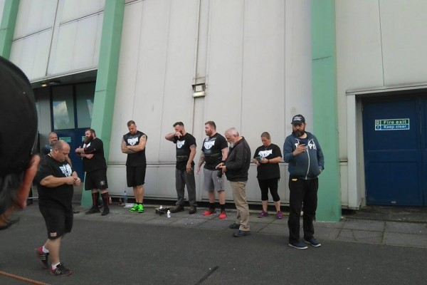 Competitors lining up for the vehicle pull