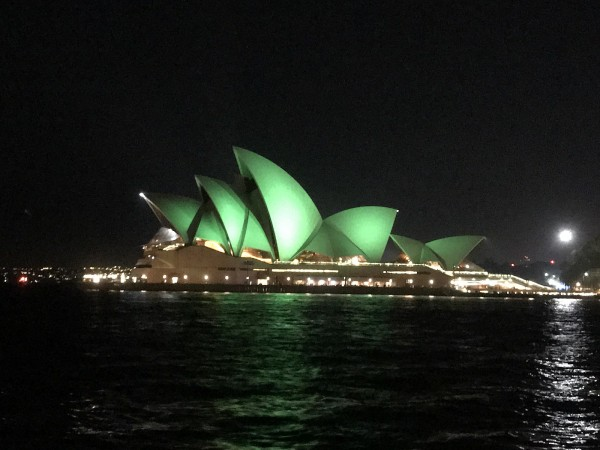 Sydney Opera House on St Patrick's Day