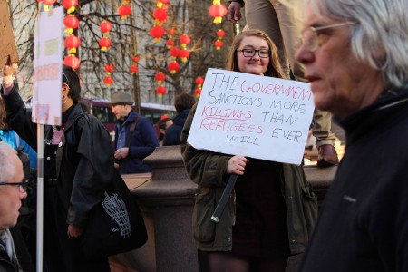 Protester (photo credit: Miles Casey)