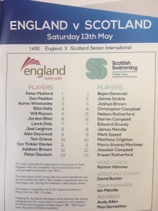 England v Scotland Water polo team sheet