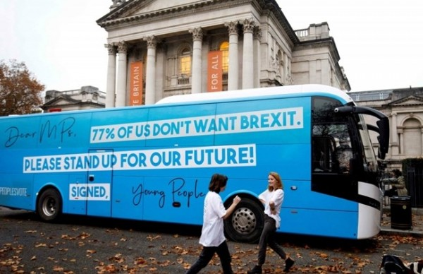 Anti-Brexit campaigners from the Our Future, Our Choice youth movement for a 'People's Vote' on Brexit, use a battle bus to take campaigns to new cities.