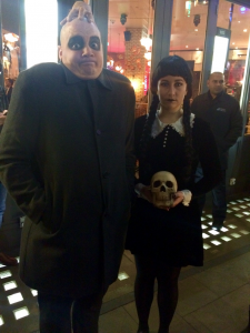 Ben Crampton and Grace Brennan as Uncle Fester and Wednesday Adams
