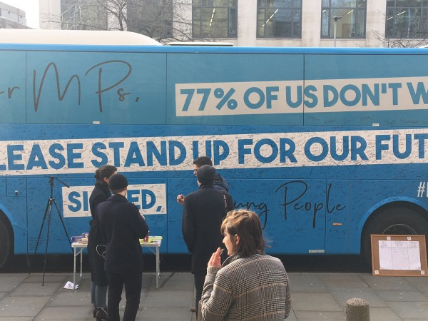 People signed the people's vote bus