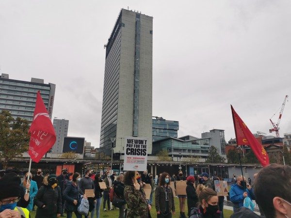 Crowds at Piccadilly Gardens