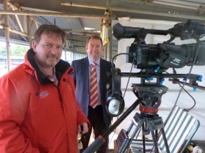 Press officer Brian Flynn (centre) and TV producer Mark Bennett.
