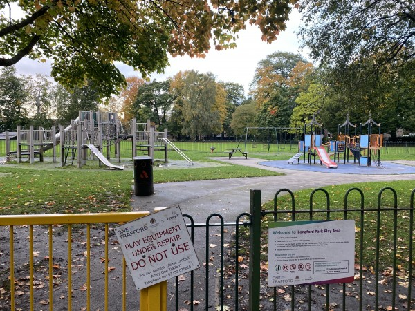 Stretford, Trafford, Longford Park, play area closed at Longford Park