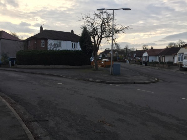The joining of Tennison Road and Dryden Avenue in Cheadle Village