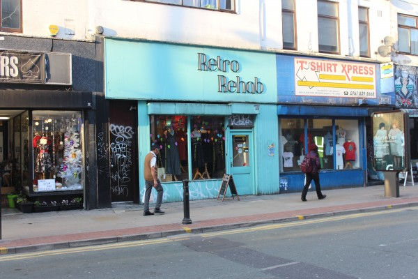 Retro Rehabs store-front, which is baby blue