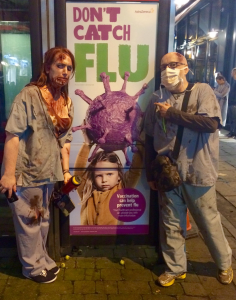 Kate Dailey and Colin Smith as zombie doctors