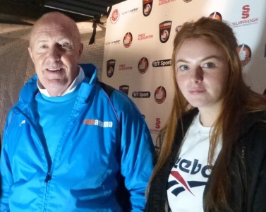 Lauren Brassington and Altringham's manager Jim Harvey