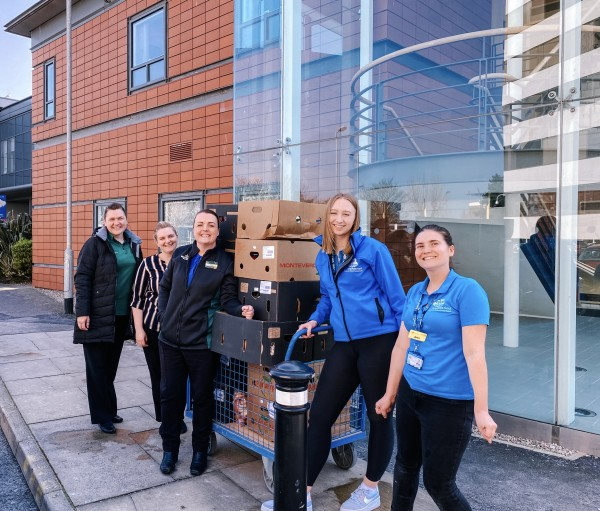 Maddie Leviers receiving food donations from Morrisons for Blackpool hospitals