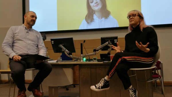 Maisie Williams during discussion at MMU