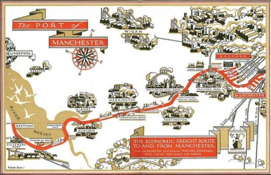 Promotional map from the Manchester Ship Canal Company c.1920s