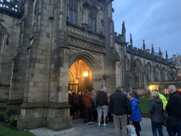 People entering the cathedral for the knife crime summit