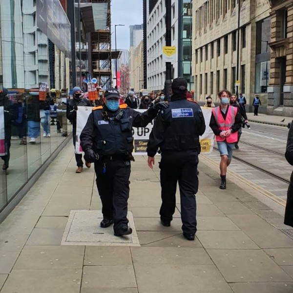 police, protest, film, demonstrate, manchester,