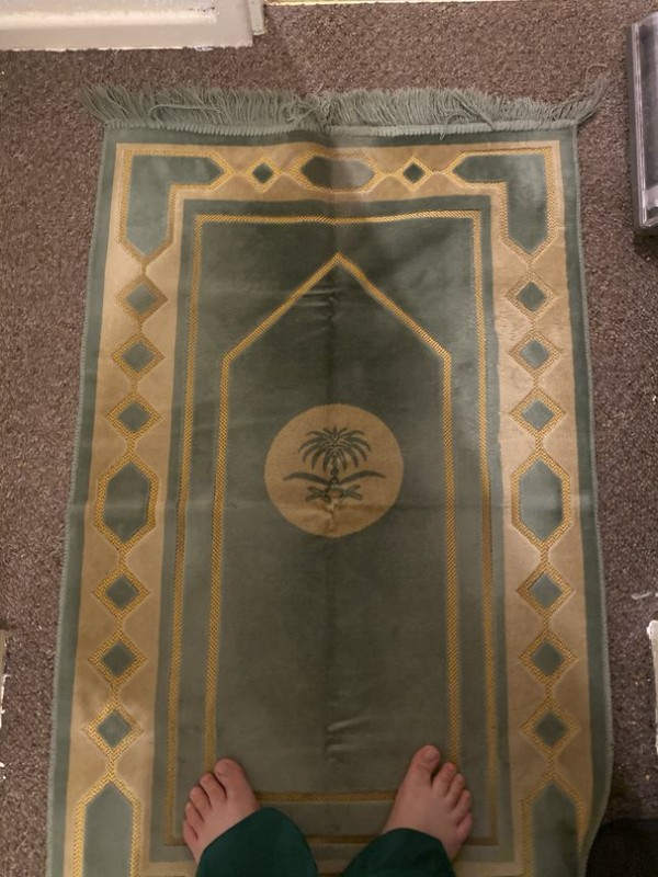 A prayer mat used by Muslims to perform salat
