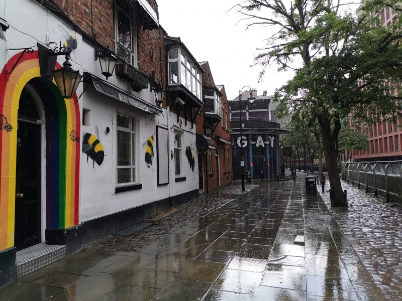 Canal Street, Manchester Gay Village empty during the coronavirus pandemic.