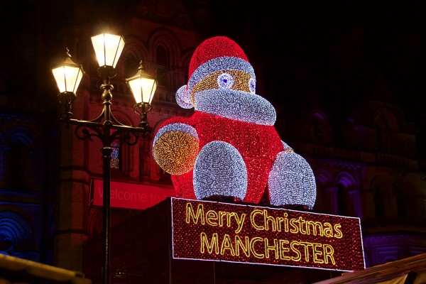 The giant Santa over the town hall