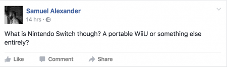 Facebook post asking question about Nintendo's Switch