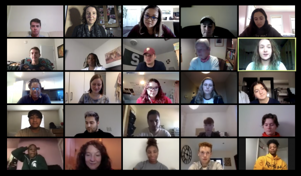 Zoom meeting with Michigan State University journalism students