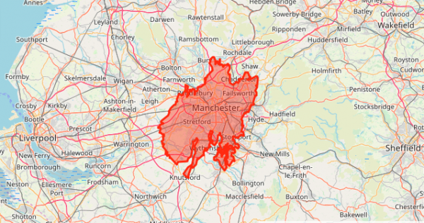 A map showing the area of wildfire if it were in Manchester