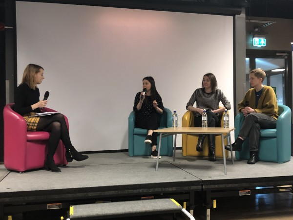Jessica Murray, Sophie Halle-Richards, Georgina Morris and Lauren Ballinger on the panel about the importance of local journalism.