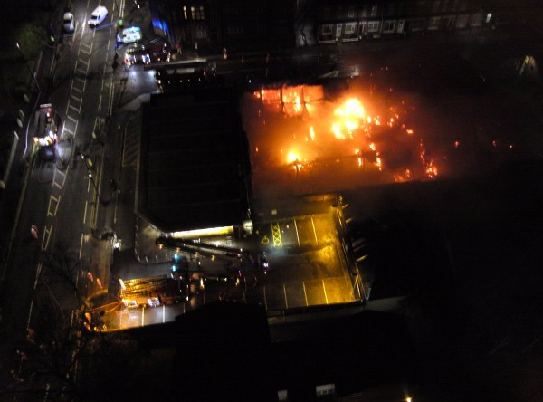 Trafford fire from above