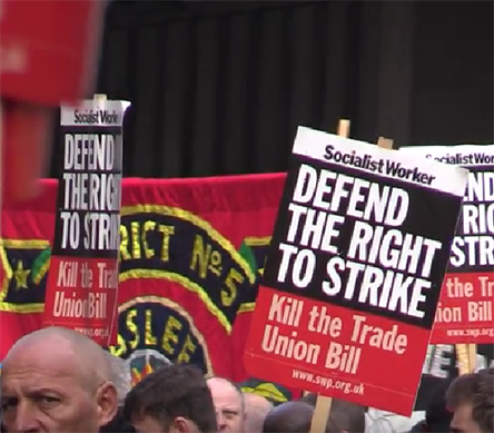 Shots from the Trade Union Bill protest in Westminster