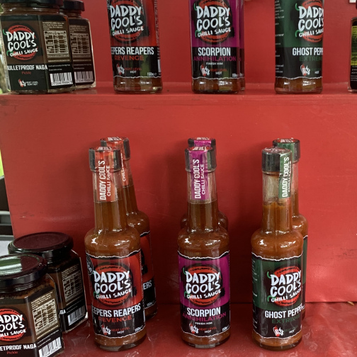 A selection of Daddy Cool's chilli sauce