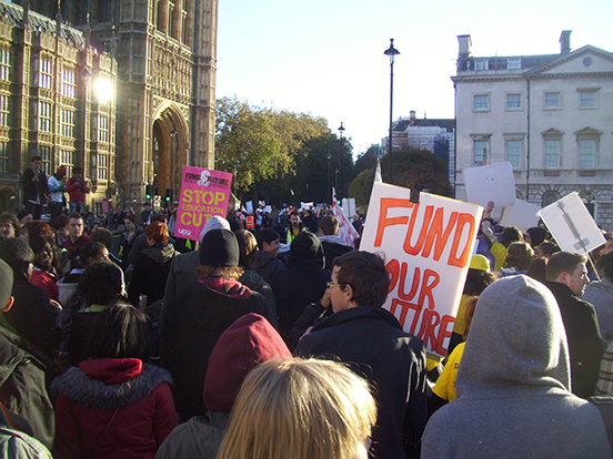 Picture of the 2010 student protests in London