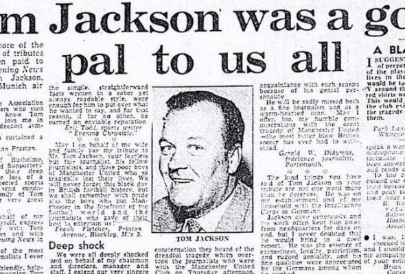Tom Jackson was a good pal to us all - Manchester Evening News