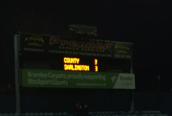 Stockport 3-3 Darlington scoreboard
