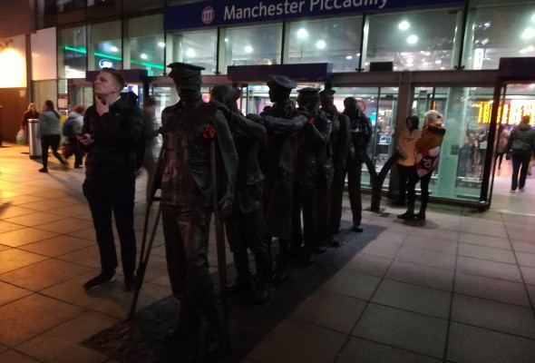 Manchester Piccadilly Blind Veterans UK statue