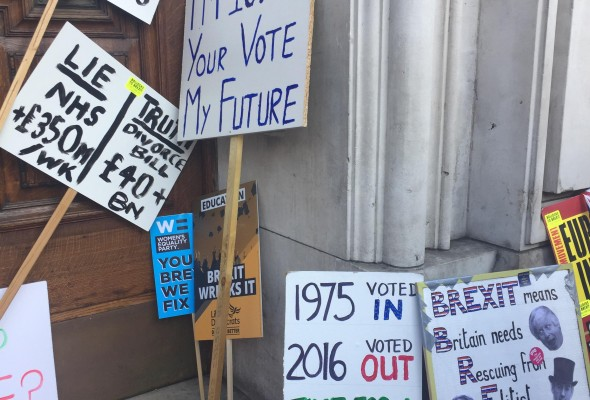 Placards from young people campaigning for a second referendum at the People's Vote protest in London