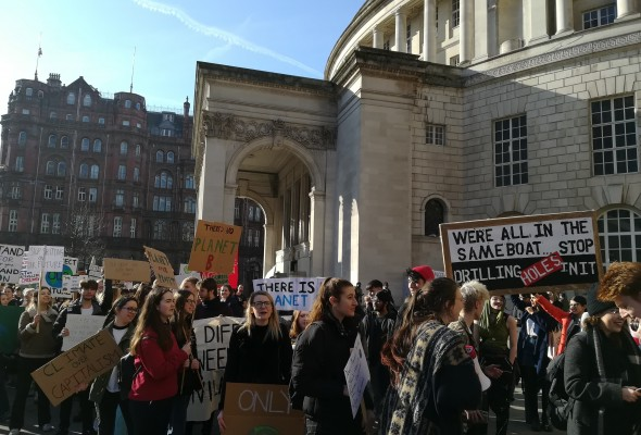 Protestors outside Manchester Central Library
