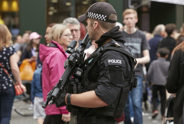 Armed police officer in Manchester