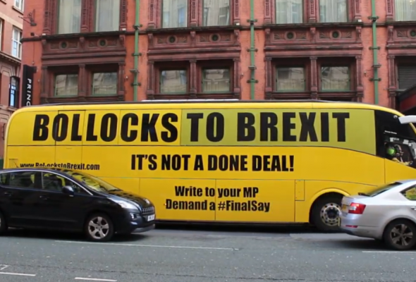Bollocks to Brexit bus in Manchester