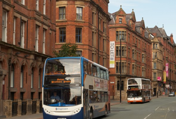 Bus in central Manchester