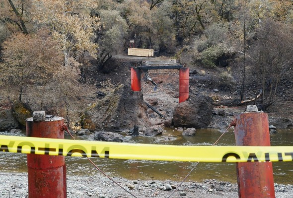 A bridge collapsed caused by the wildfire