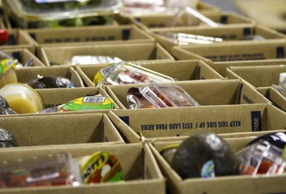 Boxes containing food for donations