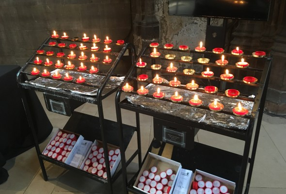 Candles in Manchester Cathedral