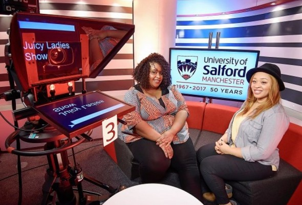 Salford media student on TV set