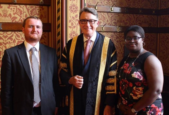 Lord Peter Mandelson with Max Pilley and Damilola Oladokun.