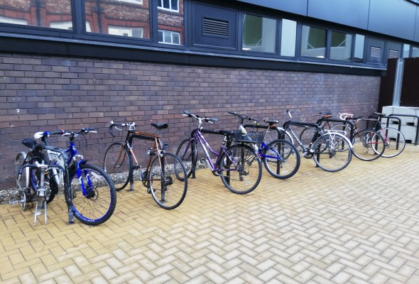 Bicycles locked up on MMU campus