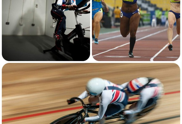 MMU sports stars collage - Dame Sarah Storey,  Kadeena Cox and Helen Scott