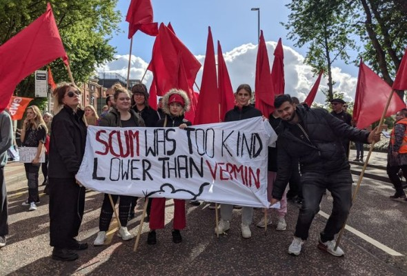 red bloc, protest, tory party conference
